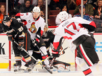 Sens carry play for most the game but lose to the Ducks