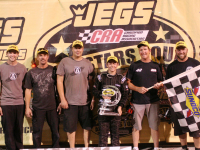 15 year old Grant Quinlan wins first late model race