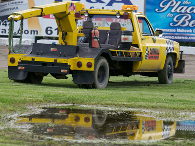 The World of Outlaws Late Models Series cancelled due to rain at Cornwall Motor Speedway