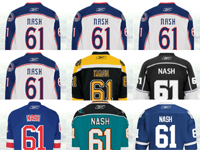 Timeout - What uniform will Rick Nash be wearing next week?